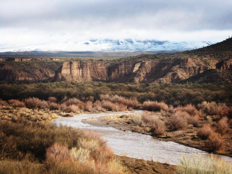 The flowing San Pedro River and snow-covered Galiuro Mountains.