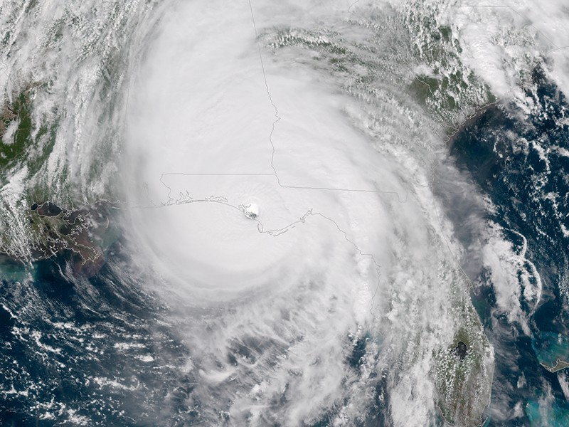 GOES East satellite imagery of Hurricane Michael as the storm made landfall at 1:30 p.m. ET, October 10, 2018.