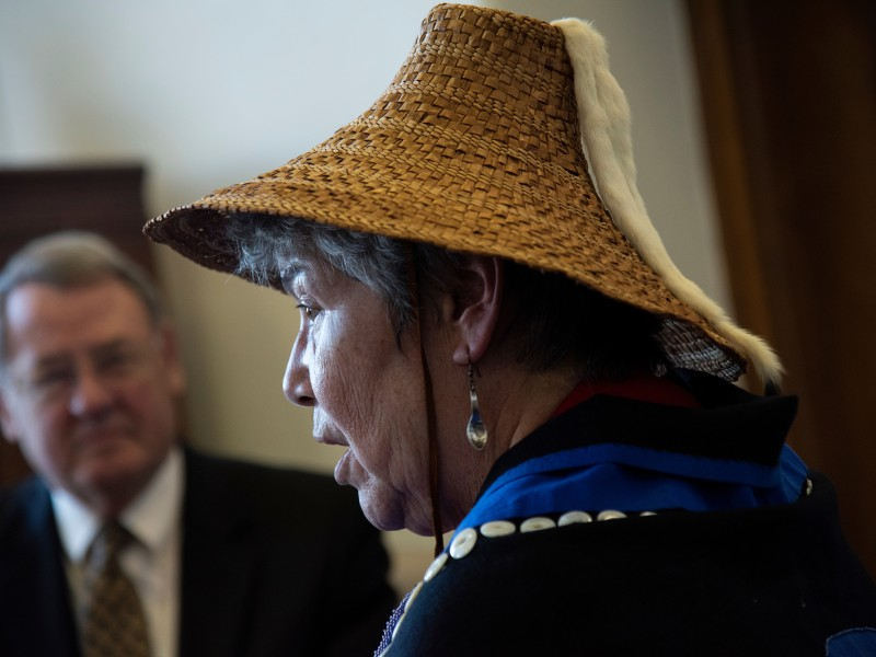 Tlingit tribal member Wanda Culp traveled to Washington to ask U.S. Forest Service head Jim Hubbard to protect Alaska's Tongass National Forest, where Culp lives.