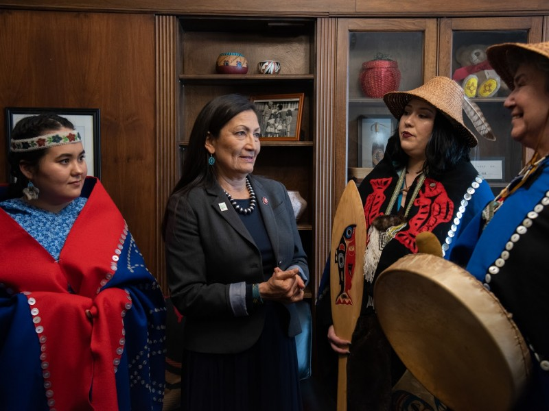 A delegation of Alaska Native women meets with New Mexico Rep. Deb Haaland, one of the first two Indigenous women ever elected to Congress.