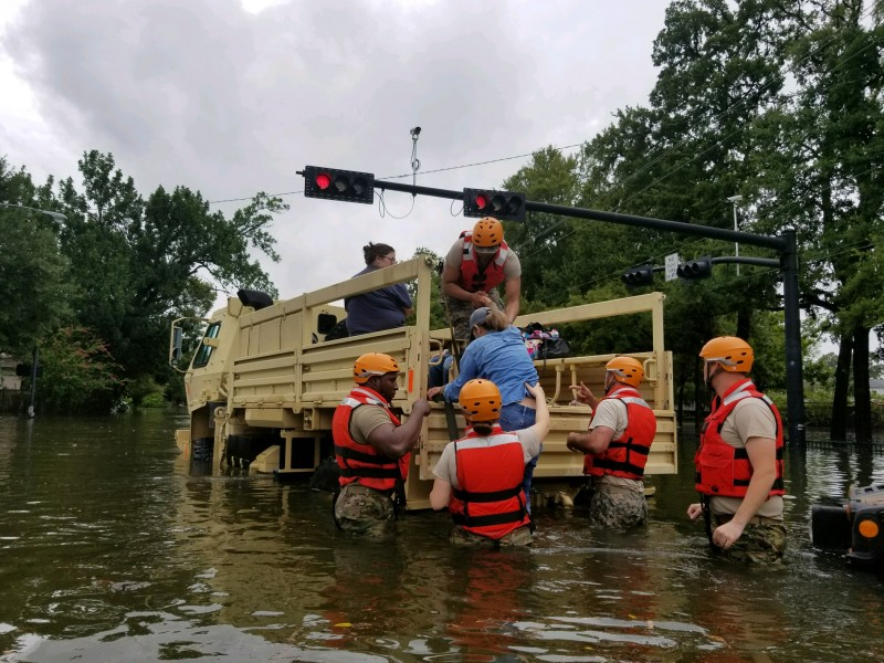 Texas National Guard soldiers conduct rescue operations in areas around Houston, Texas, flooded due to Hurricane Harvey.