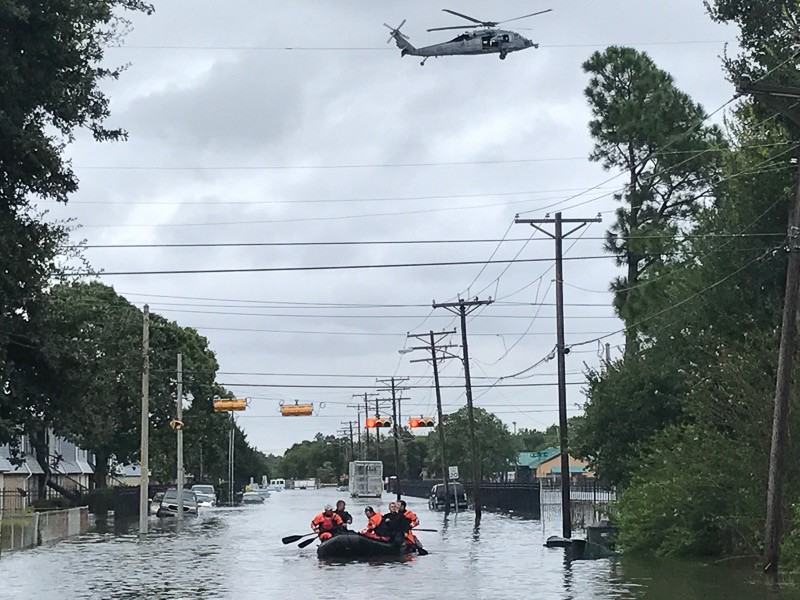 Kentucky Air National Guardsmen conduct water rescue missions in Port Arthur, Texas, on Aug. 30, 2017, in the wake of Hurricane Harvey