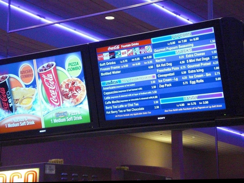 Menu at movies