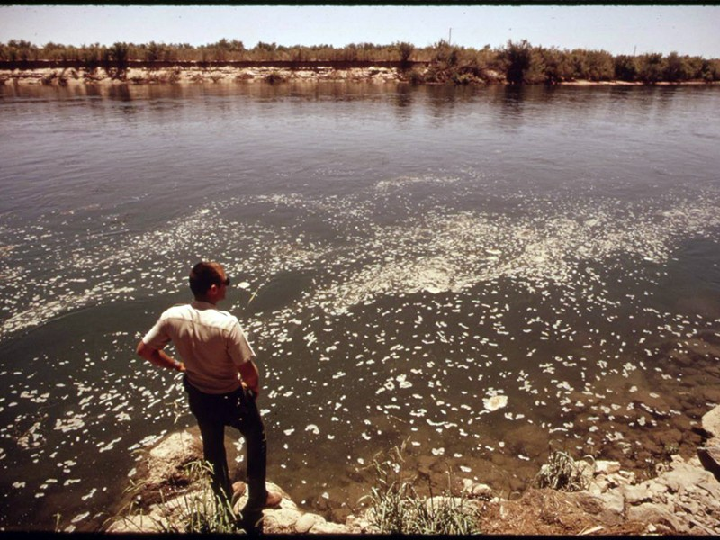 Waste floats on the Colorado River near Yuma, Arizona, in 1972. Congress passed the Clean Water Act that year, establishing federal protection for all water in the U.S.
