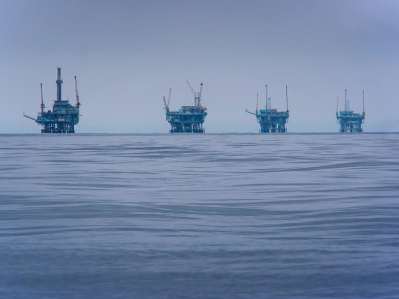 Drilling rigs, like the ones pictured here off the coast of Santa Barbara, California, would spell disaster in the Arctic where remoteness and ice contribute to difficulties cleaning up a spill.