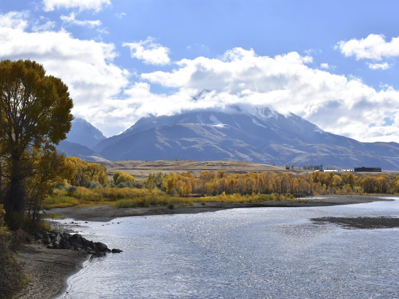 Emigrant Peak rises above the Paradise Valley and the Yellowstone River.
