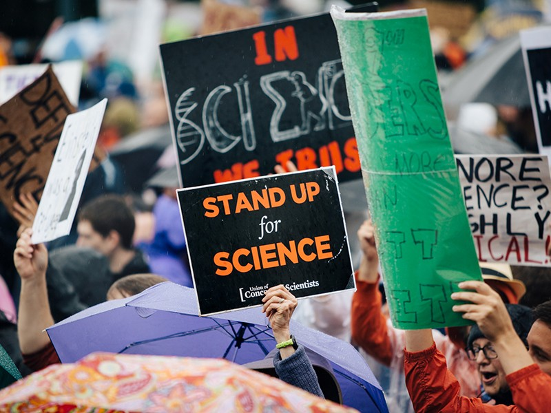 Participants in the 2017 March for Science in Washington, DC., protested the Trump administration's anti-science attacks.
