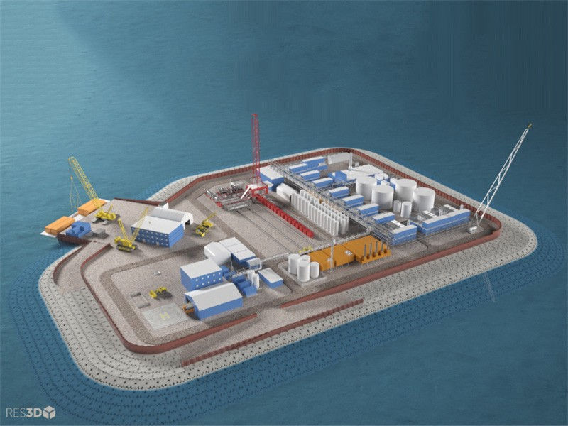 Hilcorp plans to drill for oil in the Arctic Ocean from an artificial gravel island.
