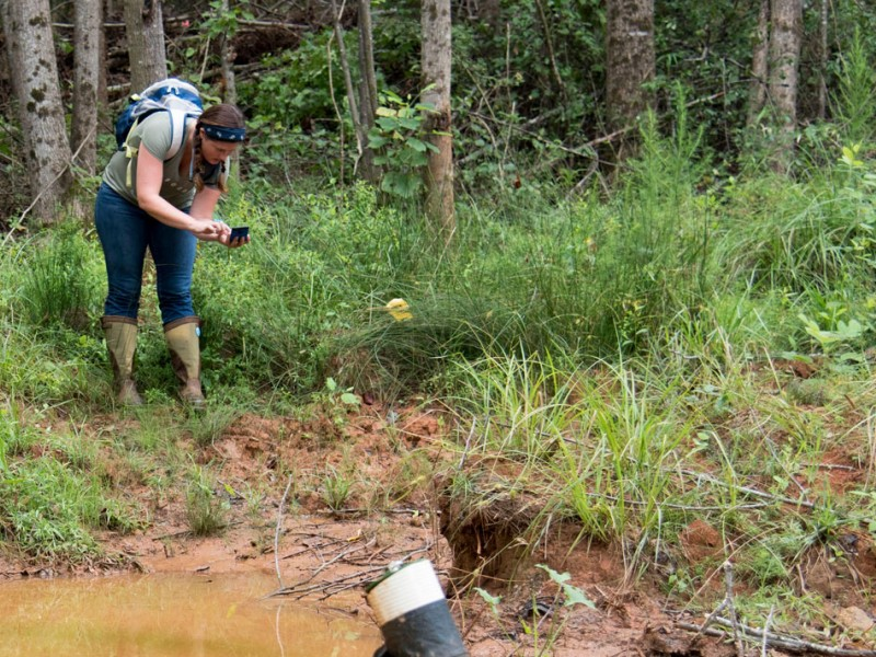 Savannah Riverkeeper Tonya Bonitatibus documents pollution around the Anderson County pipeline spill in 2016.