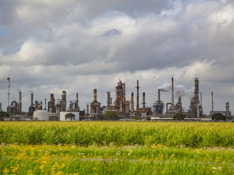 View of industrial chemical complex in St James, Louisiana