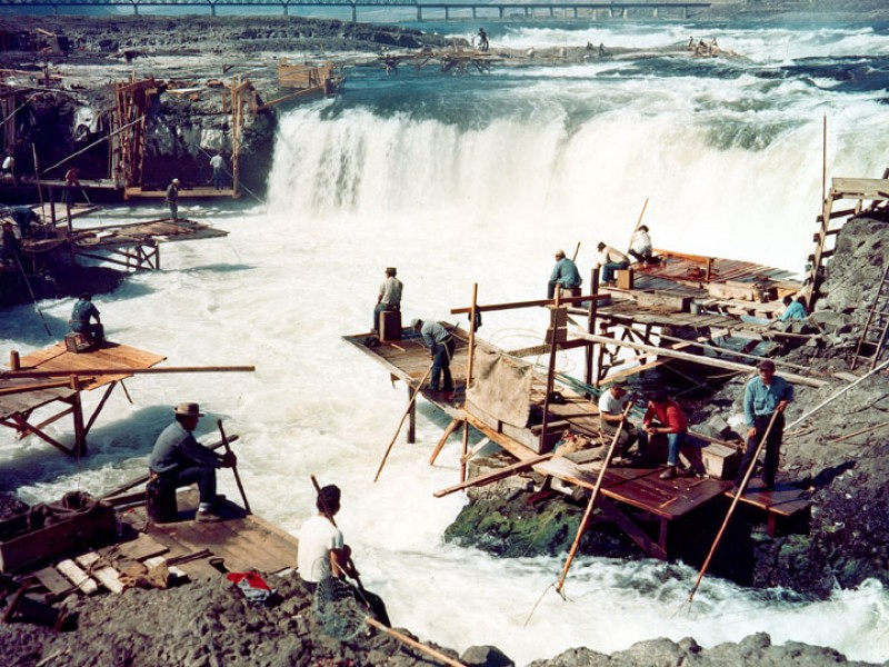 Dipnet fishing at the Cul-De-Sac of Celilo Falls (Columbia River) around 1957, Oregon, Pacific Northwest, USA