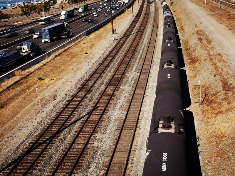 A train used for the transport of crude oil in California.