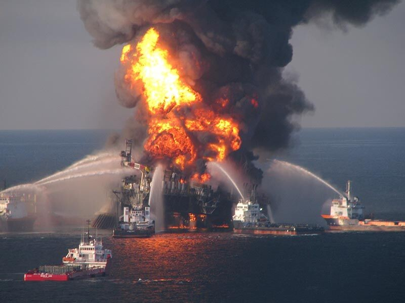 Fire boat response crews battle the blazing remnants of the offshore oil rig Deepwater Horizon.
