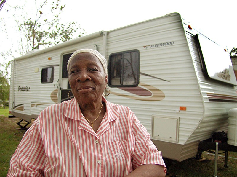 FEMA housed Hurricane Katrina victim Martha Hentor, 82, in this trailer in Gulfport, Mississippi. Some of the trailers FEMA provided to hurricane refugees emitted toxic levels of formaldehyde, a cancer-causing chemical.
