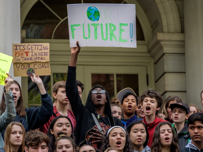 Young activists demanding climate action