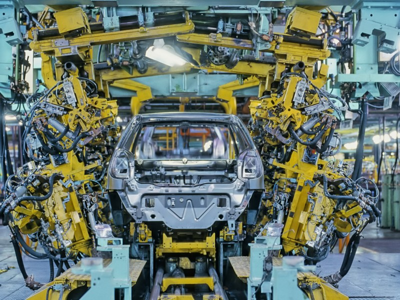 A car is built on the assembly line