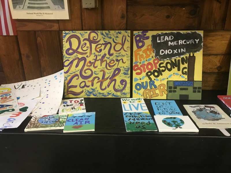 The youth of Newark, NJ's Ironbound neighborhood created these signs in advance of a November 2018 demonstration calling on the Covanta trash incinerator to clean up.