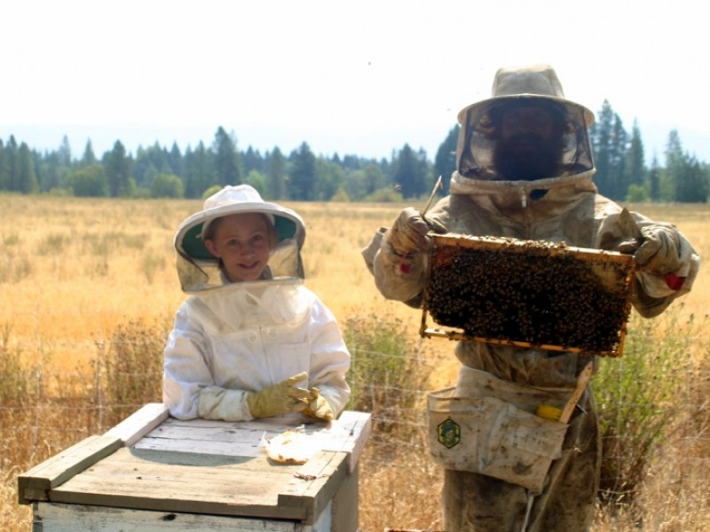 Eric McEwen and his daughter Fern Waters McEwen working on their apiary.
