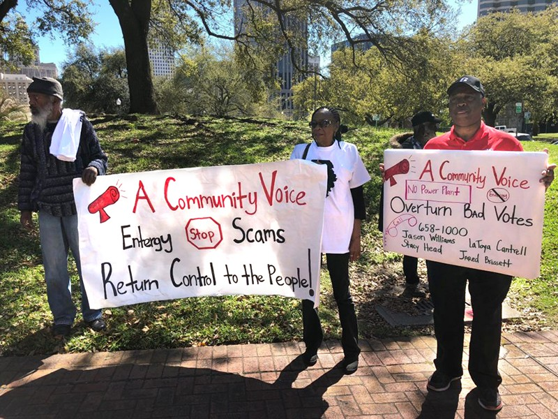 A protest against the proposed Entergy gas power plant in New Orleans East on March 3, 2018.