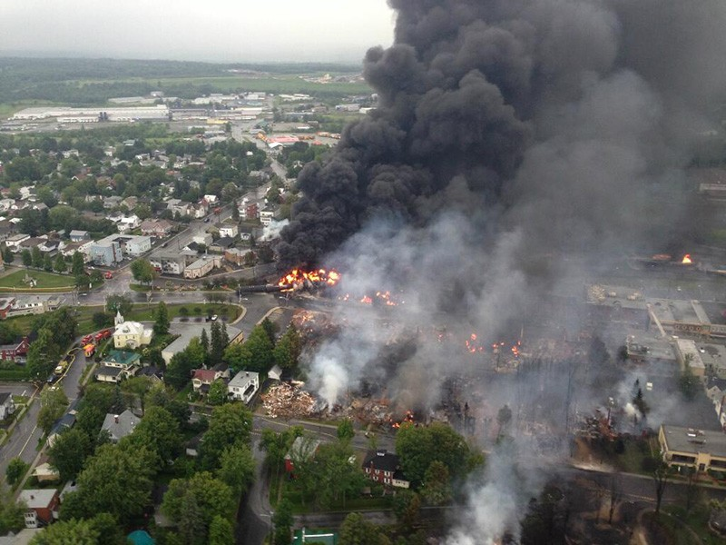 The crude-by-rail explosion in Lac-Mégantic, Canada in 2013.