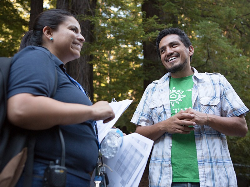 Founder of Latino Outdoors José González (right) talks about his group's efforts to encourage Latinos to connect with the great outdoors and to shine light on the conservationism so pervasive in the Latino culture.