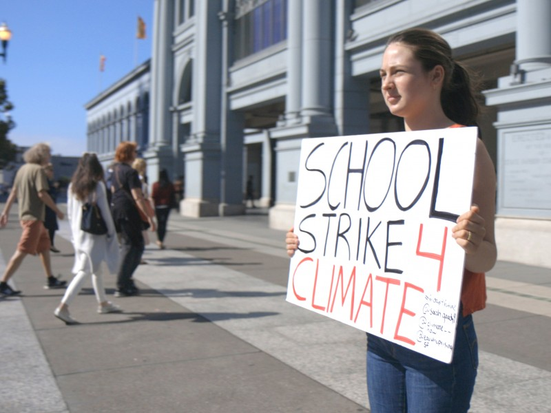 Sarah Goody spends her Fridays protesting climate change in front of San Francisco's Ferry Building.