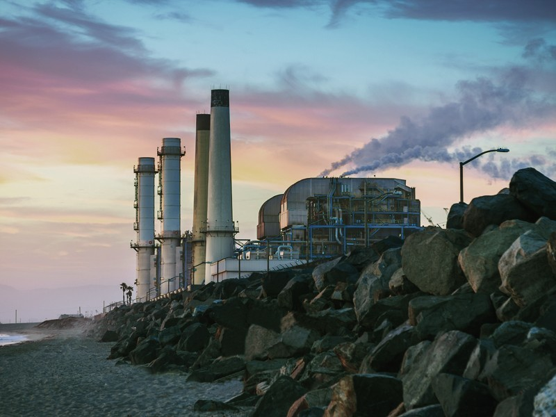 A natural gas-fueled power plant located near Los Angeles, California
