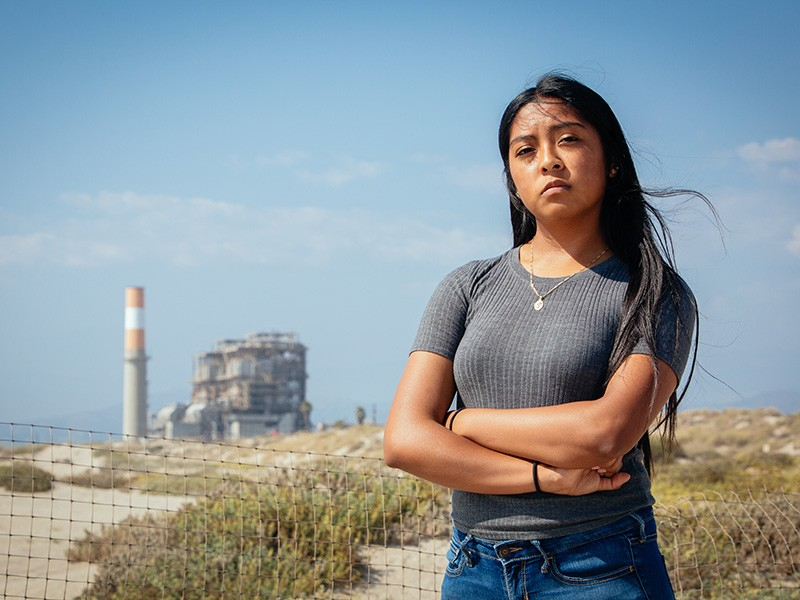 Karina Montoya, whose mother is an agricultural worker, was among the Oxnard, California, teens who spoke out against a proposed gas plant in their hometown.