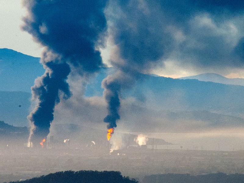 An industrial accident caused a massive fire at the Chevron oil refinery in Richmond, Calif., on August 5, 2012.