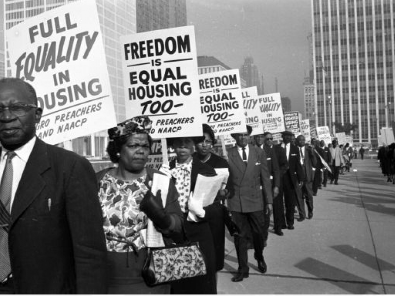 NAACP supporters picket housing discrimination in 1963