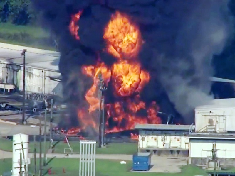 The Arkema chemical plant, northeast of Houston, was engulfed in flames due to a loss of electricity caused by Hurricane Harvey. Toxic chemicals that were unable to be stored at the proper temperature, causing explosions that endangered