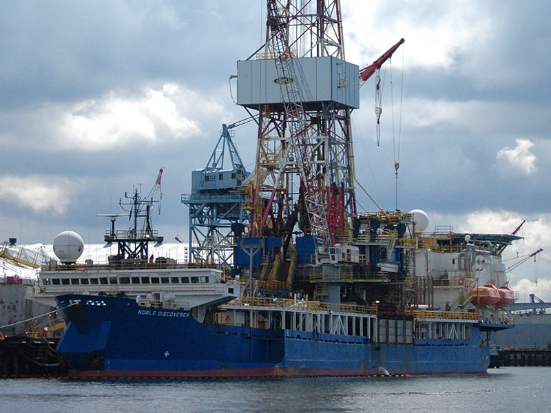 The oil drilling ship Noble Discoverer, on April 5, 2012 in the Port of Seattle before its trip to Alaska for the summer Arctic drilling season.