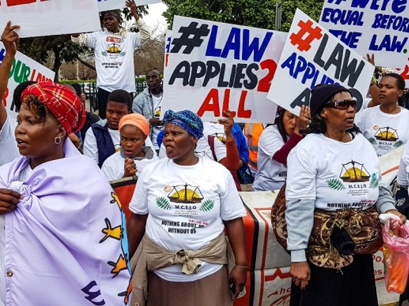 Activists from mining communities protesting at the Pietermaritzburg High Court on August 24, 2018