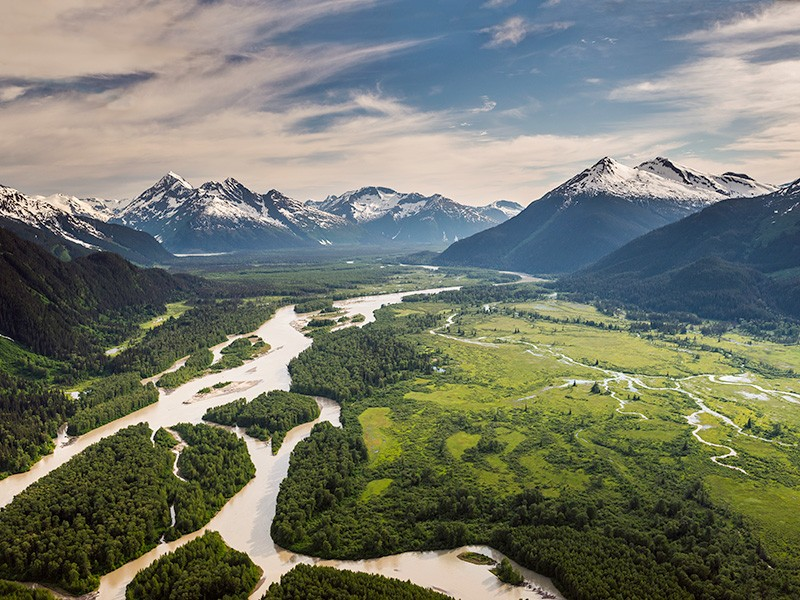 View of the Tulsequah River, looking east towards the confluence with Taku River.