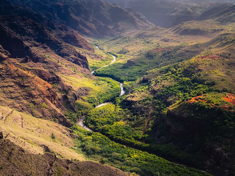 The Waime canyon and river in Kaua'i, Hawai'i