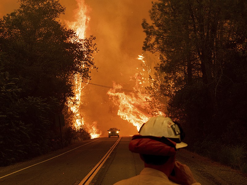 A car passes through flames on Highway 299 as the Carr Fire burns through Shasta, Calif. U.S. Interior Secretary Ryan Zinke has falsely suggested that more logging would help prevent the devastating fires raging across the West.