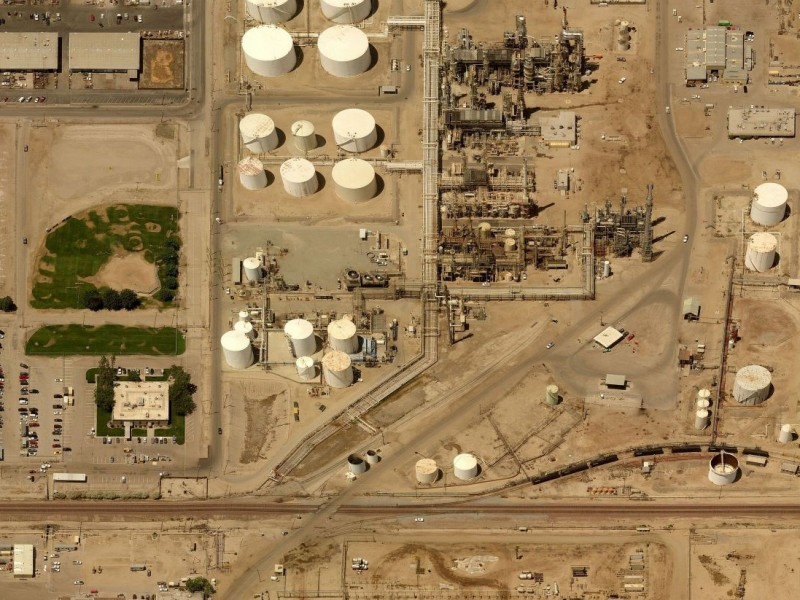 An aerial view of the Alon Bakersfield Refinery.