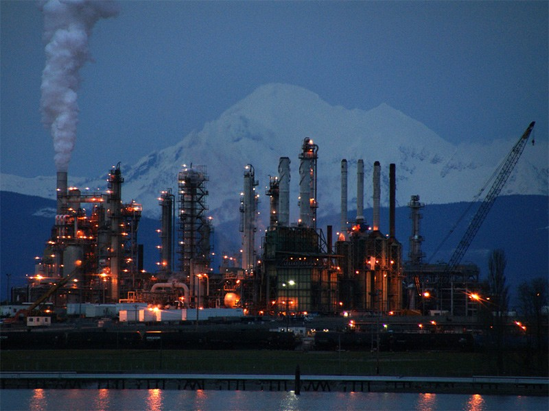 Oil refinery in Anacortes, WA, with Mt. Baker in the background.