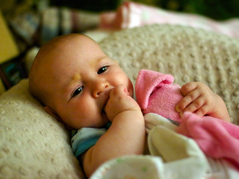 A baby rests on a nursing pillow.