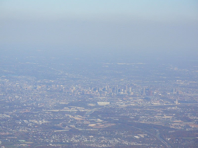 A hazy view of Baltimore.