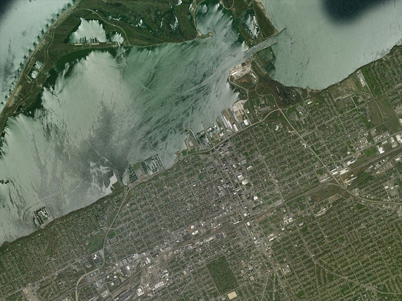 Aerial satellite map view of Bayfront Parkway in Erie, Penn.
