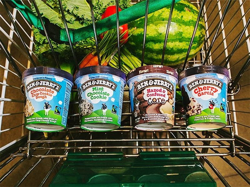 Ben & Jerry's ice cream cartons on their way home.