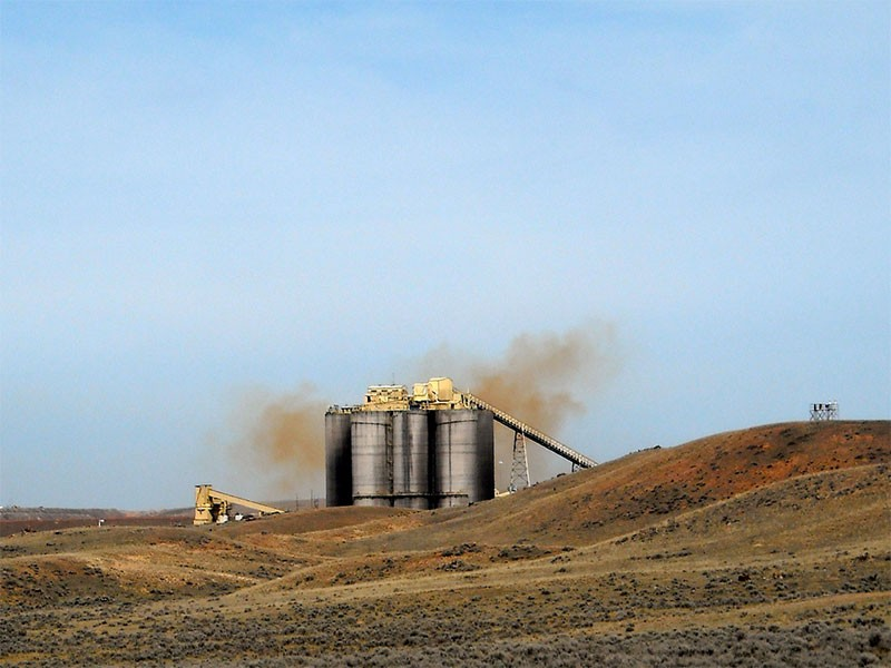 Orange cloud over the Black Thunder coal mine. These clouds are nitrogen oxide gases, which are poisonous.