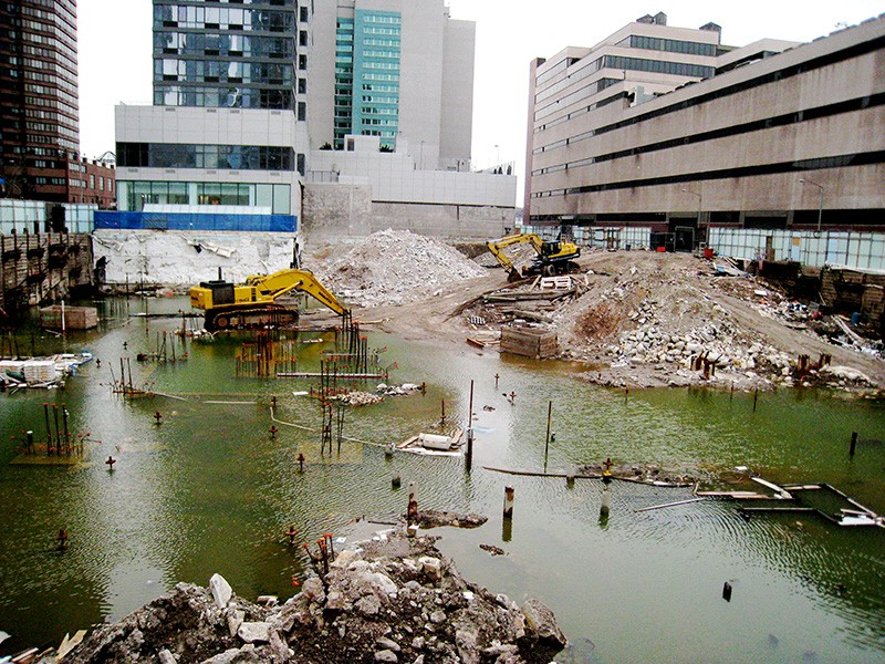 A brownfield site in Hell's Kitchen, New York City.