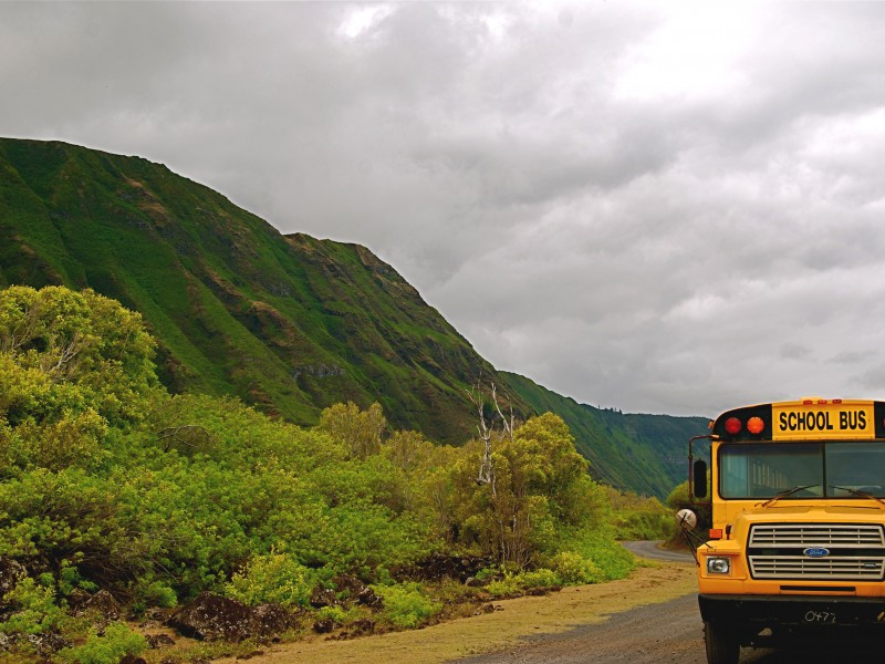 School bus in Molokai