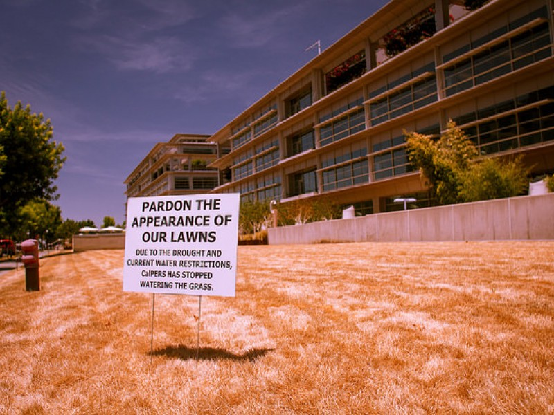 A sign indicating water restrictions in California.