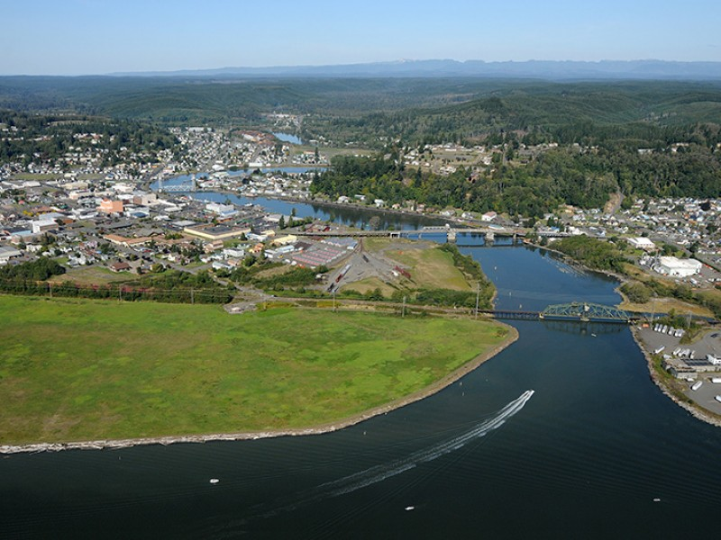 Aerial view of Grays Harbor, the site of a proposed, controversial crude-by-rail project.