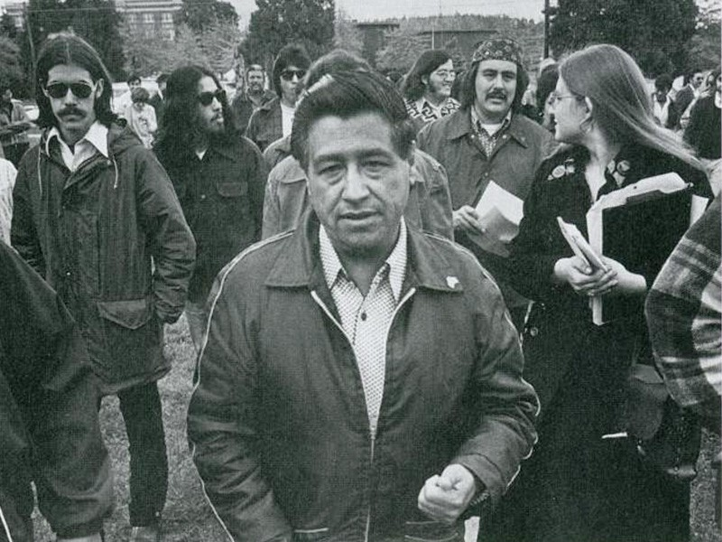 Cesar Chavez visits a school named for him in his honor in 1974.