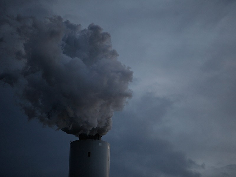 Smokestack of a coal-fired power plant.