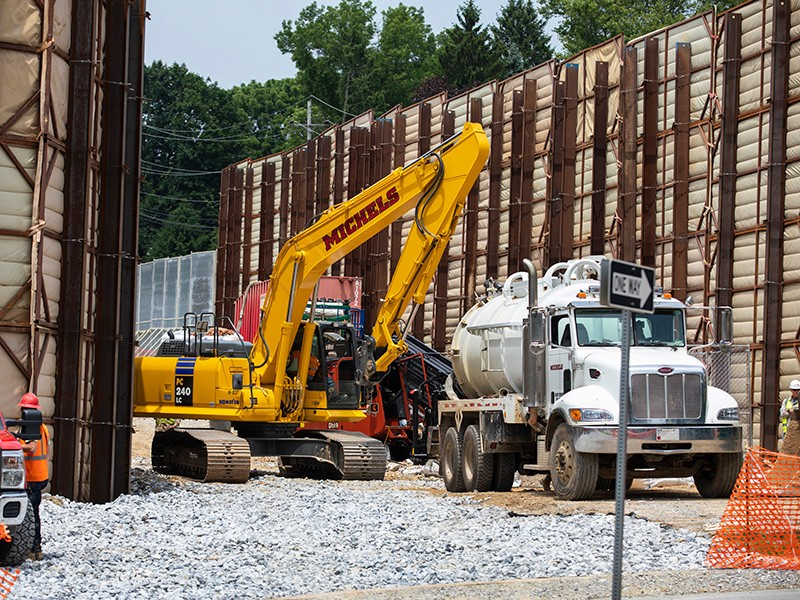 Heavy equipment is moved at a pipeline construction site in eastern Pennsylvania. The following day, heavy drilling liquid leaked out to the nearby street and residential area.